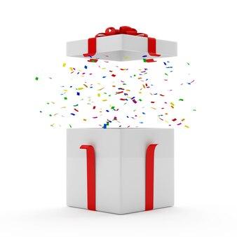 Otwarte pudełko upominkowe z konfetti w środku
