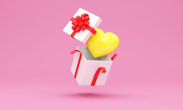 Otwarte pudełko upominkowe z żółtym sercem w kolorze różowym