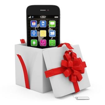 Otwarte pudełko upominkowe ze smartfonem z ekranem dotykowym