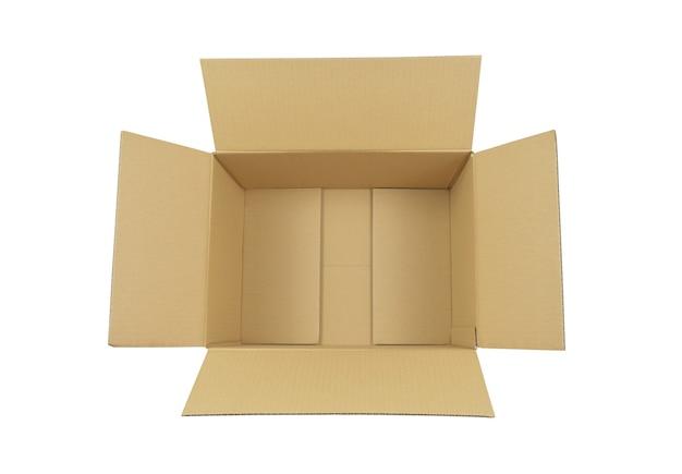 Otwarte pudełko z kreskówek na białym tle