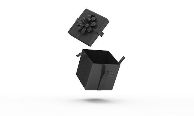 Otwarte puste czarne pudełko na białym tle