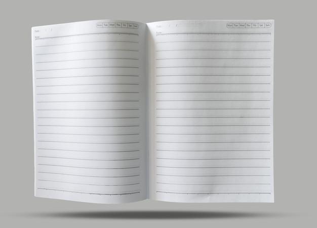 Otwarte puste pole papieru notatnik