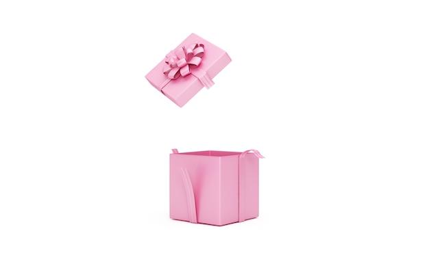 Otwarte puste różowe pudełko na prezent na białym tle