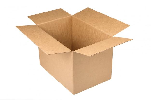 Otwarty kraft kartonu pudełko odizolowywający na białym tle. brązowe pudełko kartonowe z otwartą pokrywą. koncepcja dostawy lub rozpakowania