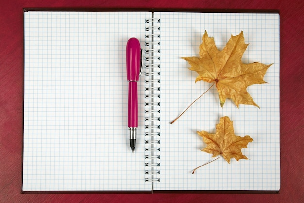 Otwarty notatnik i czerwony długopis z jesiennym liściem leżącym na drewnianym stole. przedmioty dla biznesu i edukacji