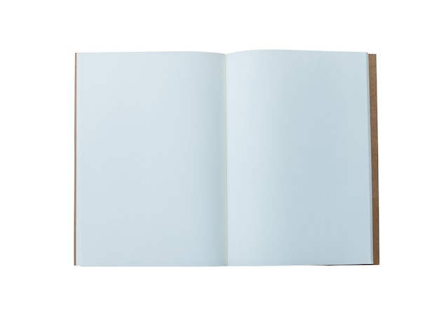 Otwiera książkę z pustymi stronami, odosobnionymi na bielu.