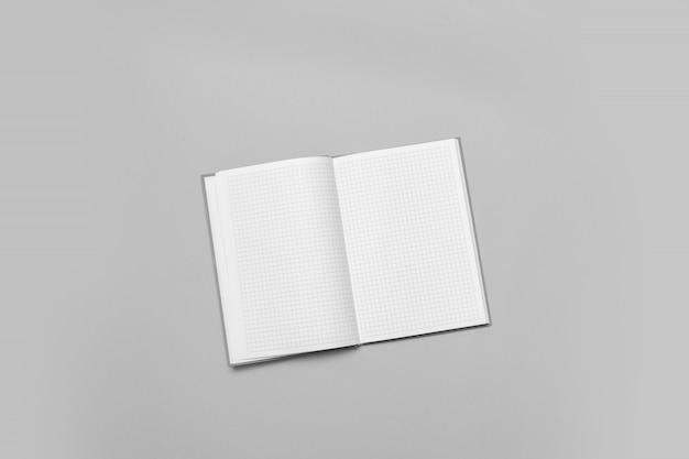 Otwiera notatnika na szarym tle