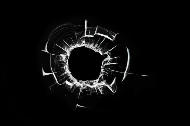 Otwór strzałowy, ilustracja potłuczonego szkła, pęknięte okno, abstrakcja pękniętej tekstury potłuczonego szkła do projektowania na czarnym tle.