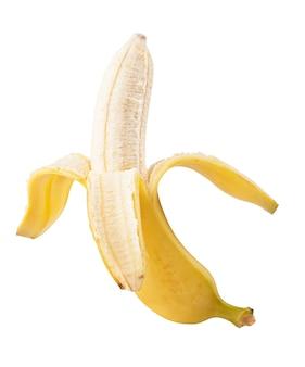 Otwórz banan na białym tle
