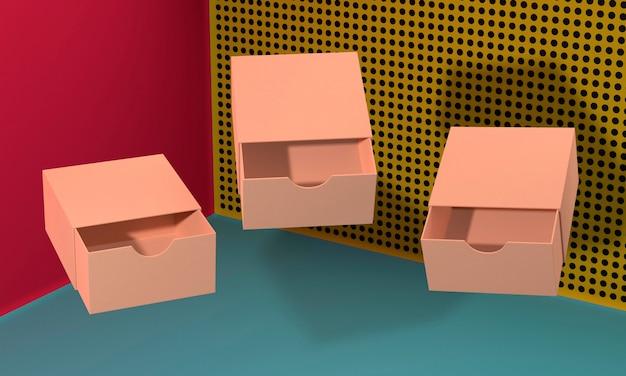 Otwórz brązowe, puste, uproszczone pudełka kartonowe