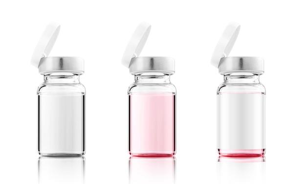 Otwórz butelkę szczepionki do makiety projektu etykiety na białym tle ze ścieżką przycinającą