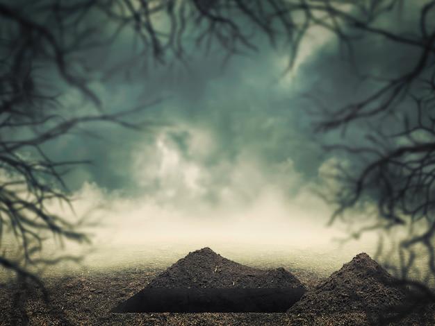 Otwórz grób w lesie o zmierzchu