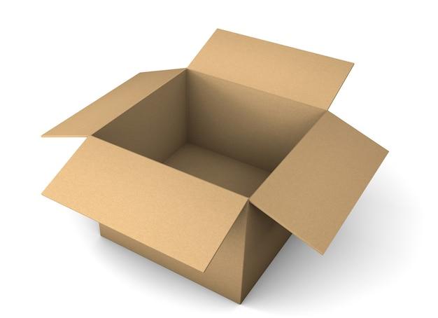 Otwórz karton do dostawy. na białym tle. renderowania 3d.