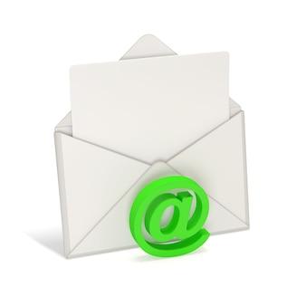 Otwórz kopertę i pusty list z symbolem e-mail na białym tle