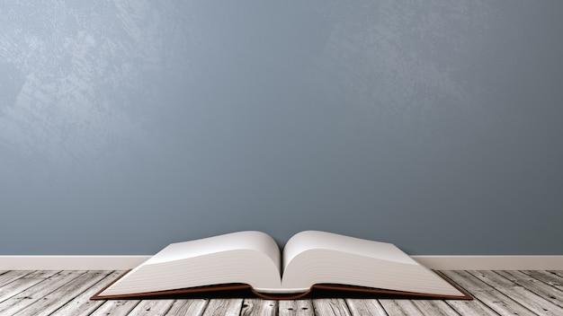 Otwórz książkę na drewnianej podłodze przy ścianie