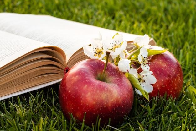 Otwórz książkę na zielonej trawie ze świeżymi czerwonymi jabłkami i kwiatami gruszki