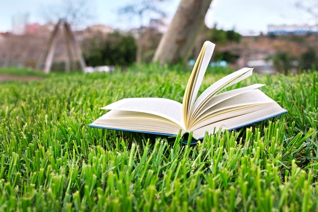 Otwórz książkę na zielonym trawniku.