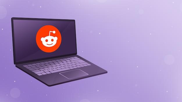 Otwórz laptopa z logo ikony reddit na ekranie 3d