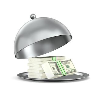 Otwórz metalowe cloche i pieniądze na białym tle. izolowana ilustracja 3d