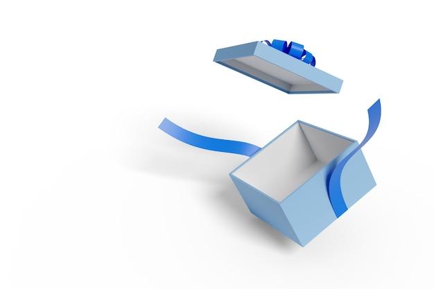 Otwórz niebieskie pudełko upominkowe z niebieską kokardką