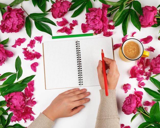 Otwórz notatnik w klatce i dwie kobiece ręce, żółty kubek z kawą