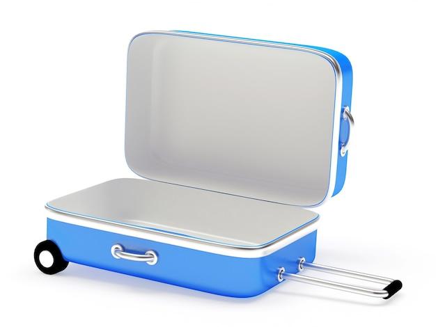 Otwórz pustą niebieską walizkę