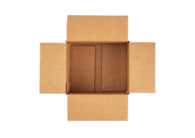 Otwórz pusty karton do dostawy. widok z góry.