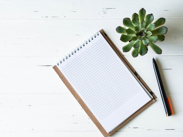 Otwórz pusty sprawdzone notatnik, czarny długopis i soczysty na białym tle drewnianych.