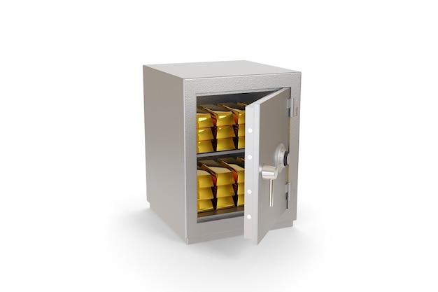Otwórz sejf pełen sztabek złota na białym tle.