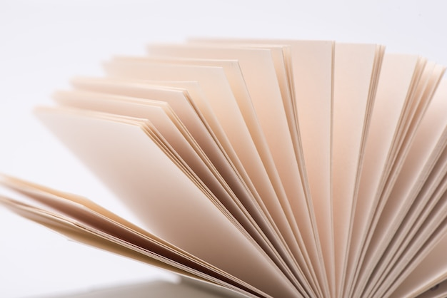 Otwórz strony książek. otwarte książek strony na białym tle, zakończenie.