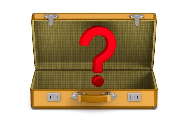 Otwórz torbę podróżną i znak zapytania na białym tle