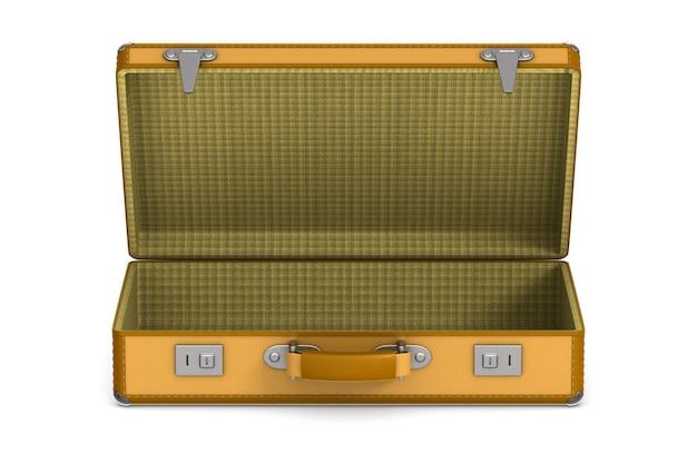Otwórz torbę podróżną na białej przestrzeni