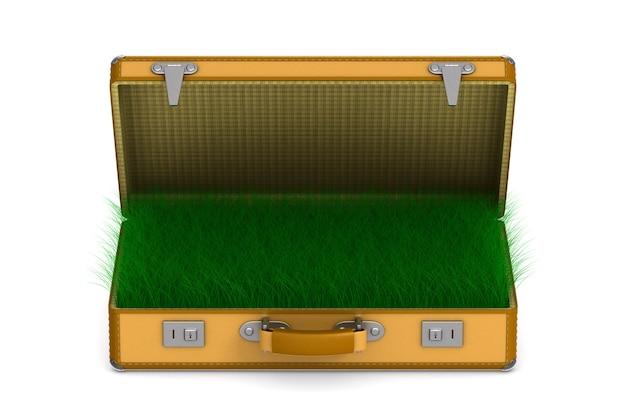 Otwórz torbę podróżną z trawą na białym tle