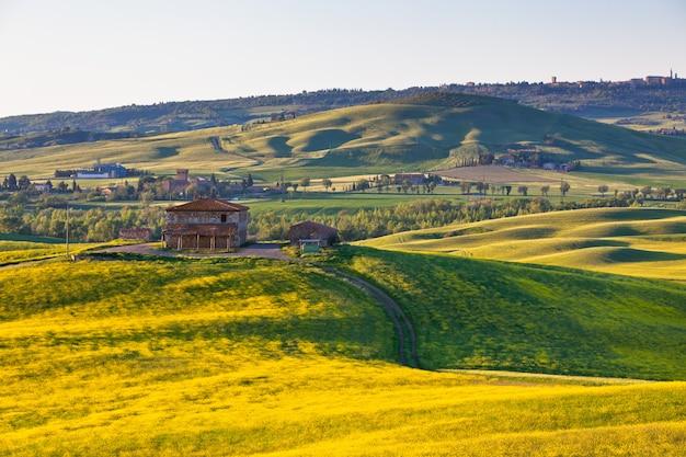 Outdoor tuscan val d orcia zielone i żółte wzgórza