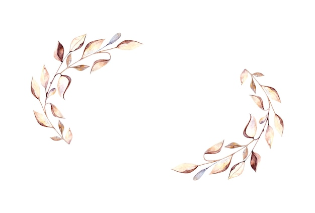 Owalna ramka akwarela z zielnikowymi gałązkami i suchymi liśćmi, suszone kwiaty na białym tle, akwarela do projektowania pocztówek, opakowań, projektowania.