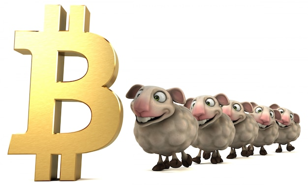Owca i bitcoin - ilustracja 3d