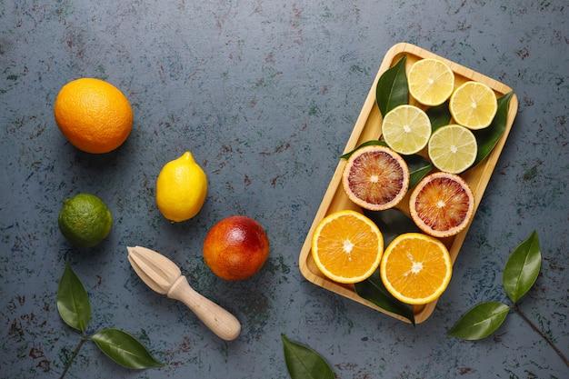 Owoce cytrusowe, widok z góry