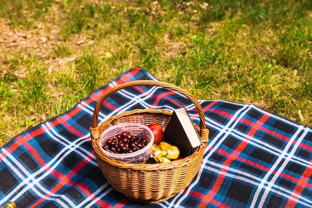Owoce; książka w drewnianym koszu na kocu nad zieloną trawą