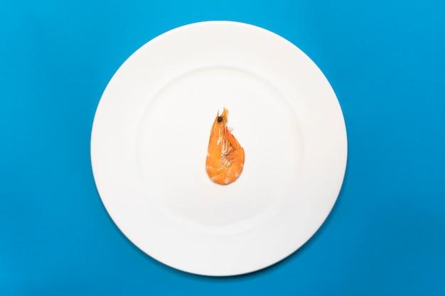 Owoce morza, jedna samotna krewetka, gotowana czerwona krewetka na białym talerzu. minimalizm. odżywianie, redukcja kalorii, dieta odchudzająca. widok z góry. dieta białkowa bez węglowodanów