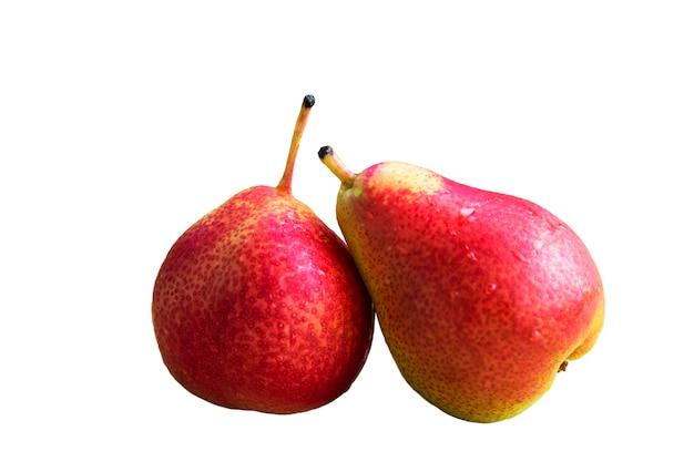 Owoce to dojrzałe gruszki. bio zdrowa żywność. dwie czerwone gruszki. martwa natura.