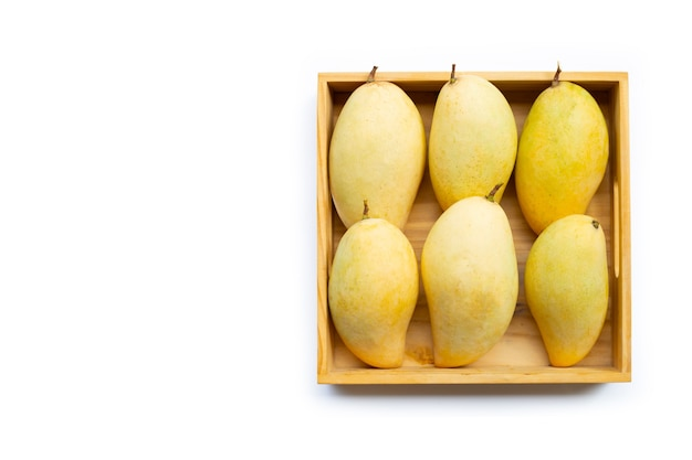 Owoce tropikalne, mango w wooen pudełku na białym tle. widok z góry