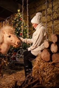 Ozdoby świąteczne na stajniach. piękny kucyk z wieńcem na szyi. choinka z balonami, strefa zdjęć na nowy rok. starsza kobieta siedzi na huśtawce