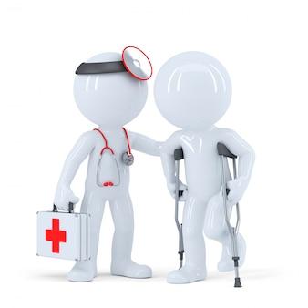 Pacjent z kulami rozmawia z lekarzem