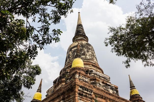 Pagoda przy watem yai chaimongkol, ayutthaya, tajlandia