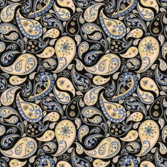Paisley streszczenie kwiatowy wzór bezszwowe w stylu orientalnym. akwarela ręcznie rysowane fioletowy niebieski żółty beżowy tekstury na czarnym tle. tapety, opakowania, tekstylia, tkaniny