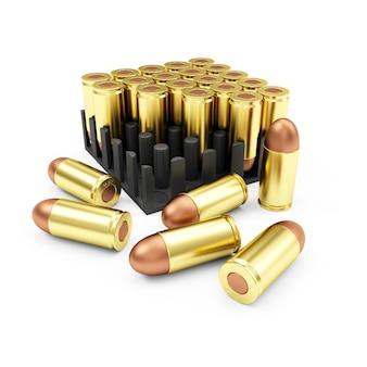 Pakiet amunicji nabojów pistoletu na białym tle