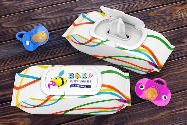 Pakiet chusteczek nawilżanych dla niemowląt ze smoczkami na drewnianym stole. renderowanie 3d