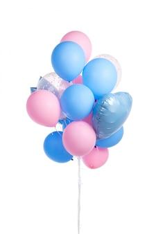 Pakiet różowi i błękitni lotniczy balony odizolowywający na bielu