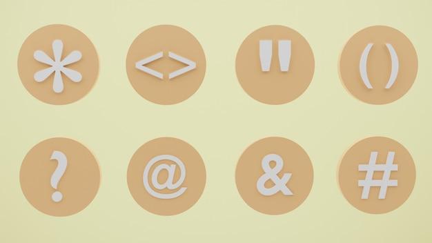 Pakiet symboli 3d ikon z różnymi symbolami