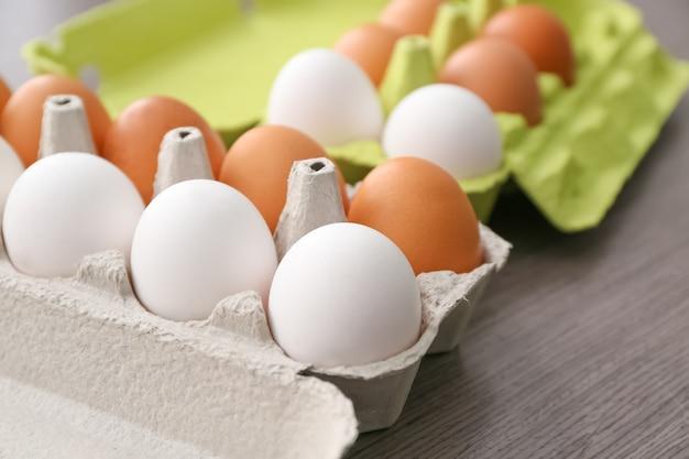 Pakiet z jajkami kurzymi, zbliżenie